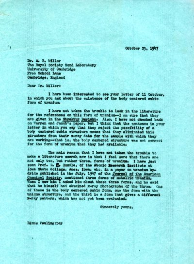Letter from Linus Pauling to A.R. Miller. Page 1. October 23, 1947