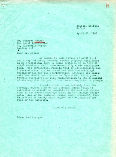 Letter from Linus Pauling to Patrick Meares. Page 1. April 26, 1948