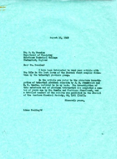 Letter from Linus Pauling to R.C. Menzies. Page 1. August 16, 1949