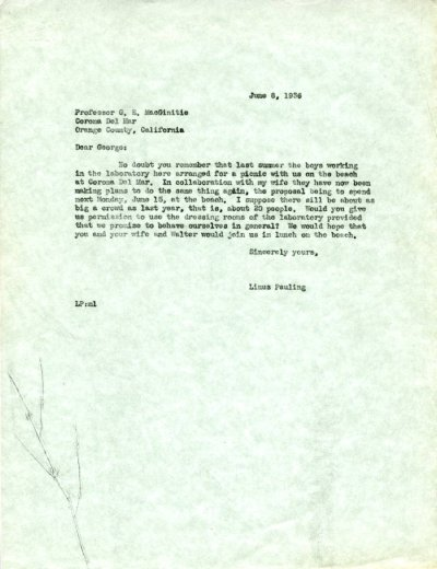 Letter from Linus Pauling to G.E. MacGinitie. Page 1. June 8, 1936