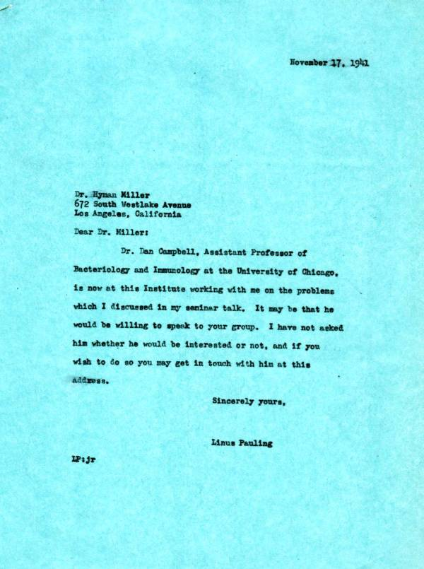 Letter from Linus Pauling to Hyman Miller. Page 1. November 17, 1941
