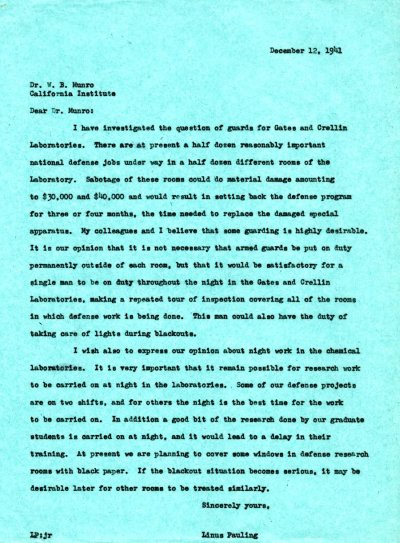 Letter from Linus Pauling to William B. Munro. Page 1. December 12, 1941