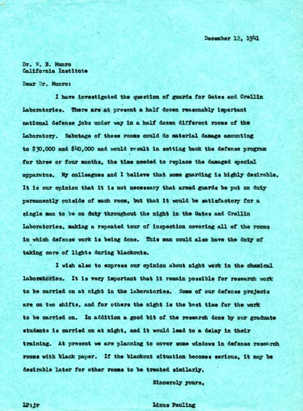 Letter from Linus Pauling to William B. Munro.Page 1. December 12, 1941