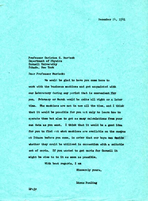 Letter from Linus Pauling to Carleton C. Murdock. Page 1. December 24, 1941