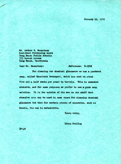 Letter from Linus Pauling to Arthur E. Macartney.Page 1. January 12, 1942