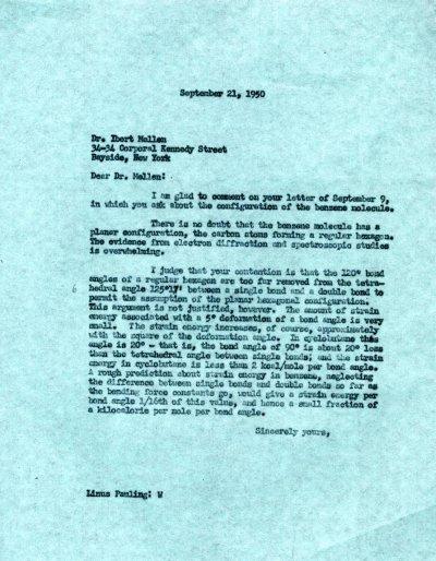 Letter from Linus Pauling to Ibert Mellen.Page 1. September 21, 1950