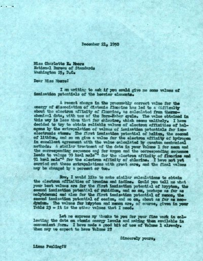 Letter from Linus Pauling to Charlotte Moore.Page 1. December 21, 1950