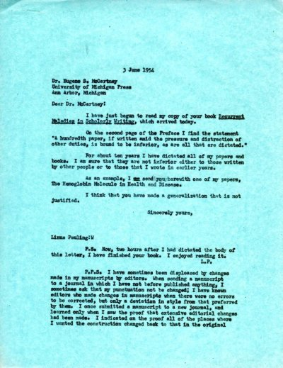 Letter from Linus Pauling to Eugene S. McCartney.Page 1. June 3, 1954