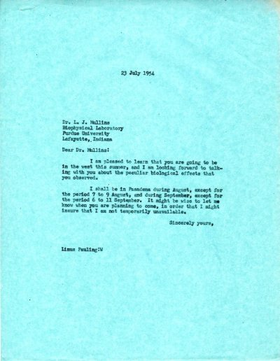 Letter from Linus Pauling to L.J. Mullins.Page 1. July 23, 1954