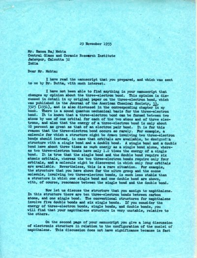 Letter from Linus Pauling to Hansa Raj Mehta Page 1. November 29, 1955
