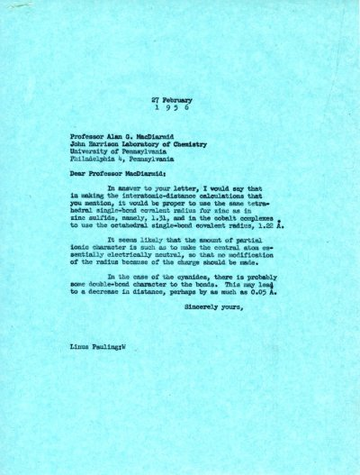 Letter from Linus Pauling to Alan G. MacDiarmid. Page 1. February 27, 1956