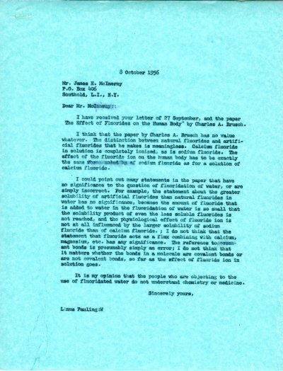 Letter from Linus Pauling to James H. McInerny. Page 1. October 8, 1956