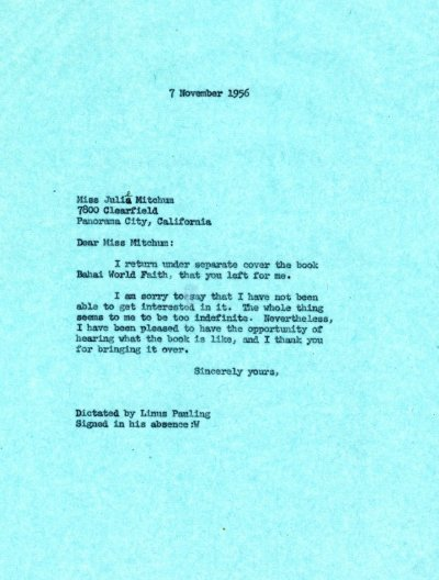 Letter from Linus Pauling to Julie Mitchum. Page 1. November 7, 1956