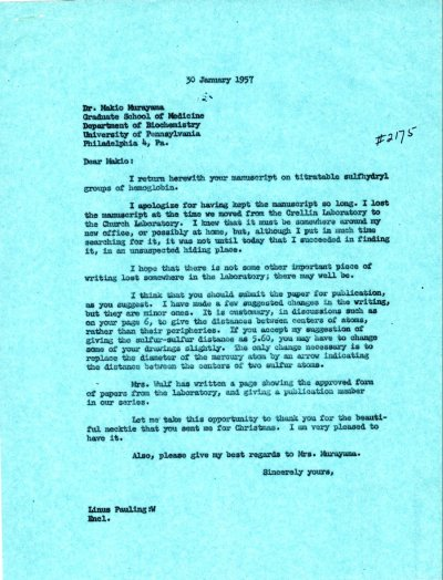 Letter from Linus Pauling to Makio Murayama. Page 1. January 30, 1957