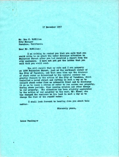 Letter from Linus Pauling to Don C. McMillan. Page 1. December 17, 1957