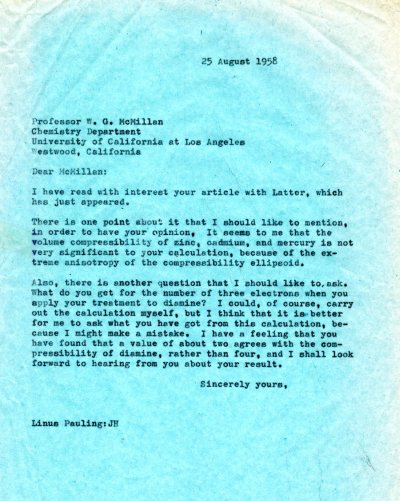 Letter from Linus Pauling to W.G. McMillan. Page 1. August 25, 1958