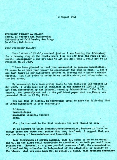 Letter from Linus Pauling to Stanley L. Miller. Page 1. August 2, 1961