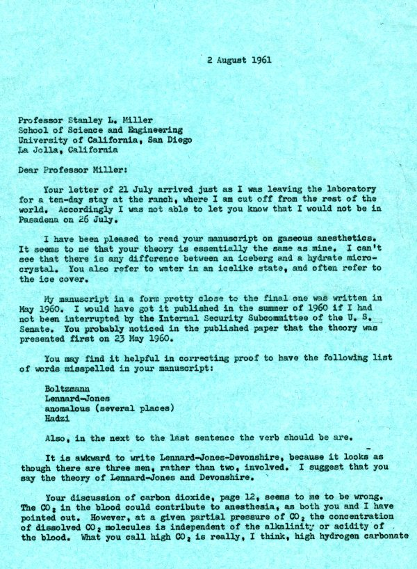Letter from Linus Pauling to Stanley L. Miller.Page 1. August 2, 1961