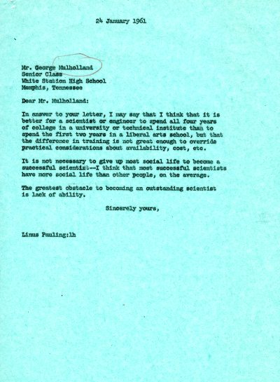Letter from Linus Pauling to George Mulholland. Page 1. January 24, 1961