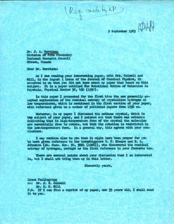 Letter from Linus Pauling to Alex Morrison.Page 1. September 9, 1963