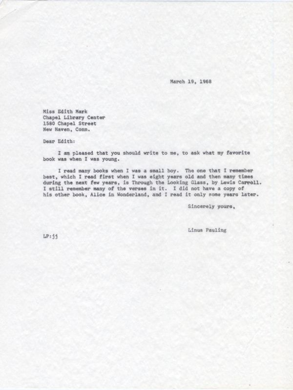 Letter from Linus Pauling to Edith Mark. Page 1. March 19, 1968