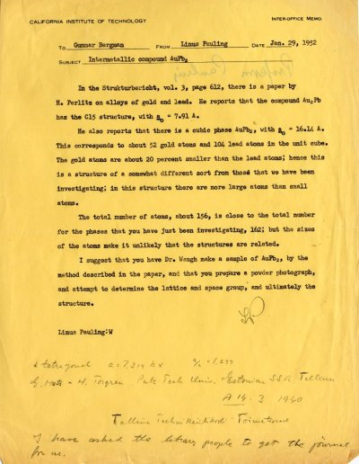 Letter from Linus Pauling to Gunnar BergmanPage 1. January 29, 1952