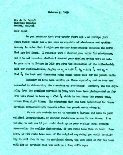 Letter from Linus Pauling to J.D. Bernal. Page 1. October 5, 1949