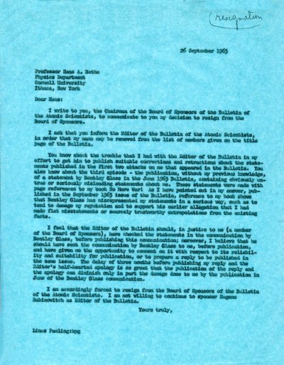 Letter from Linus Pauling to Hans Bethe.Page 1. September 26, 1963