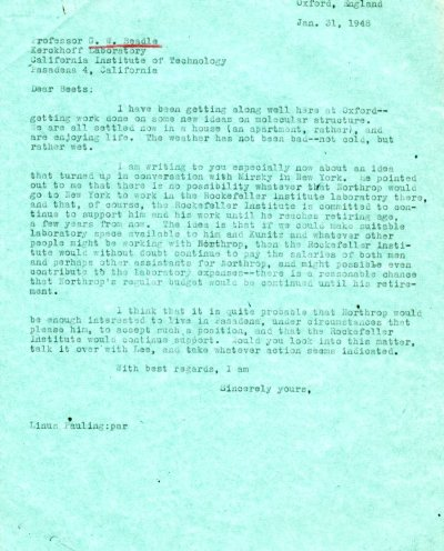 Letter from Linus Pauling to George Beadle. Page 1. January 31, 1948