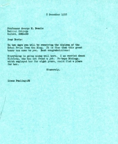 Letter from Linus Pauling to George Beadle. Page 1. December 8, 1958