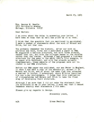 Letter from Linus Pauling to George Beadle. Page 1. March 23, 1965