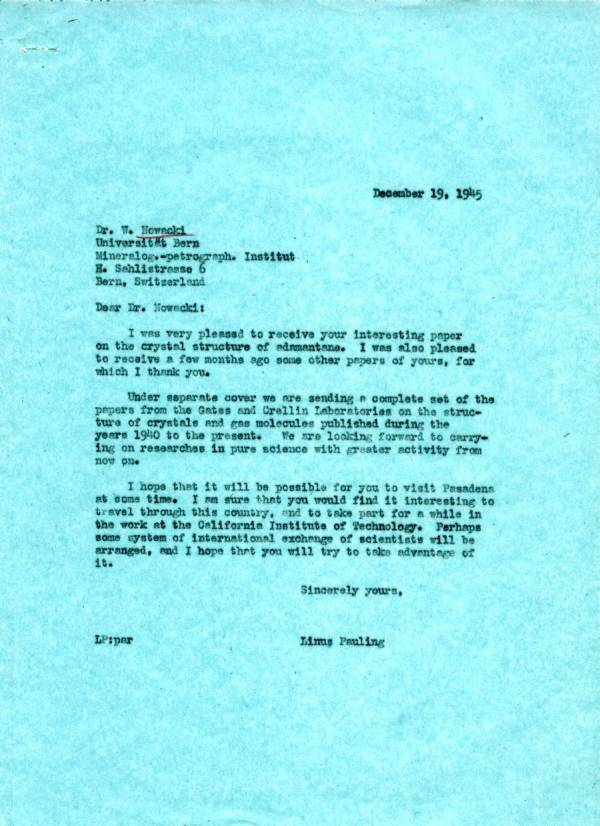 Letter from Linus Pauling to Werner Nowacki. Page 1. December 19, 1945
