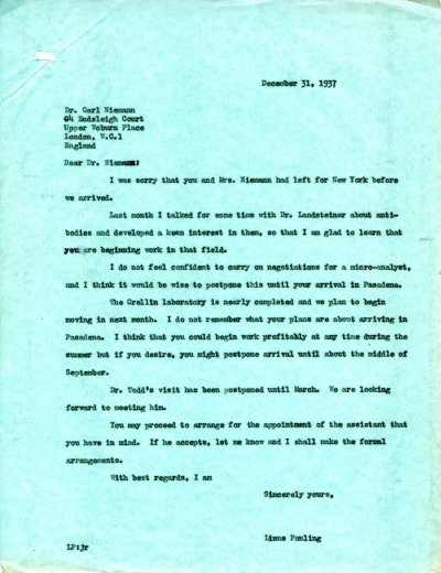 Letter from Linus Pauling to Carl Niemann. Page 1. December 31, 1937