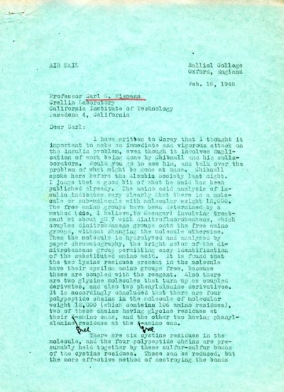 Letter from Linus Pauling to Carl Niemann. Page 1. February 18, 1948