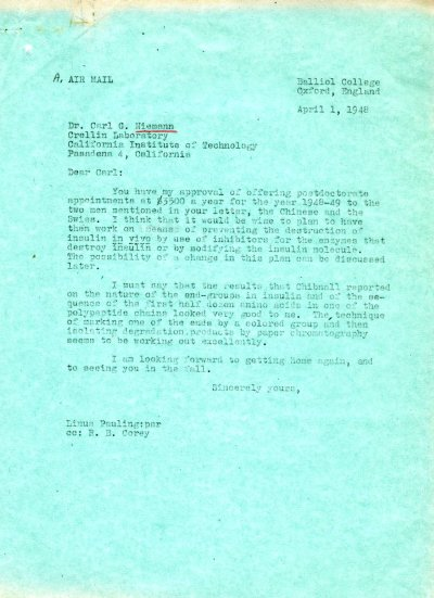 Letter from Linus Pauling to Carl Niemann. Page 1. April 1, 1948