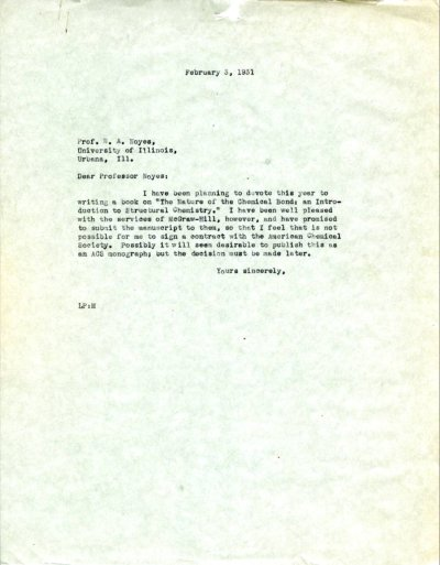 Letter from Linus Pauling to W.A. Noyes.Page 1. February 3, 1932