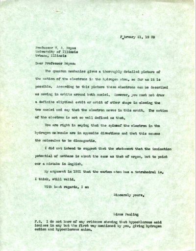Letter from Linus Pauling to W.A. Noyes. Page 1. February 21, 1938
