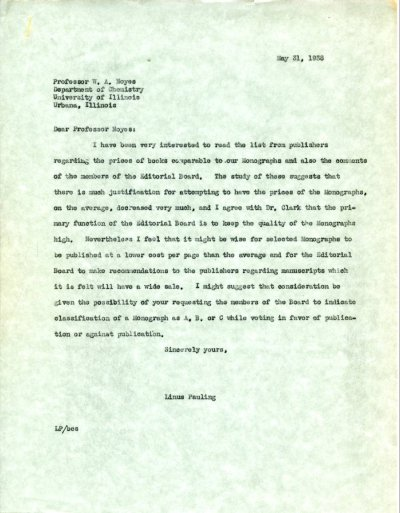 Letter from Linus Pauling to W.A. Noyes.Page 1. May 31, 1938