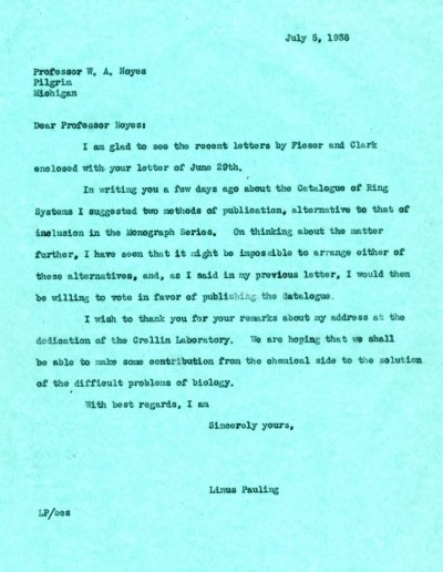 Letter from Linus Pauling to W.A. Noyes. Page 1. July 5, 1938