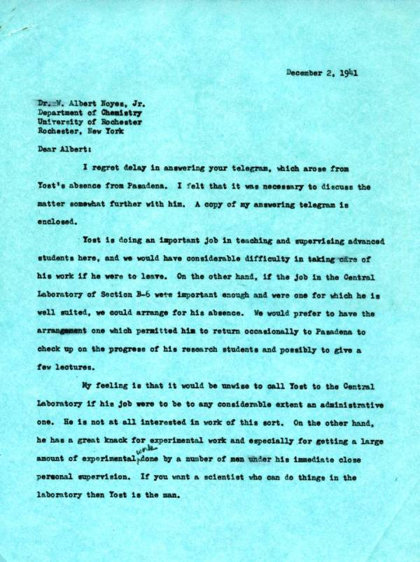 Letter from Linus Pauling to W.A. Noyes, Jr. Page 1. December 2, 1941