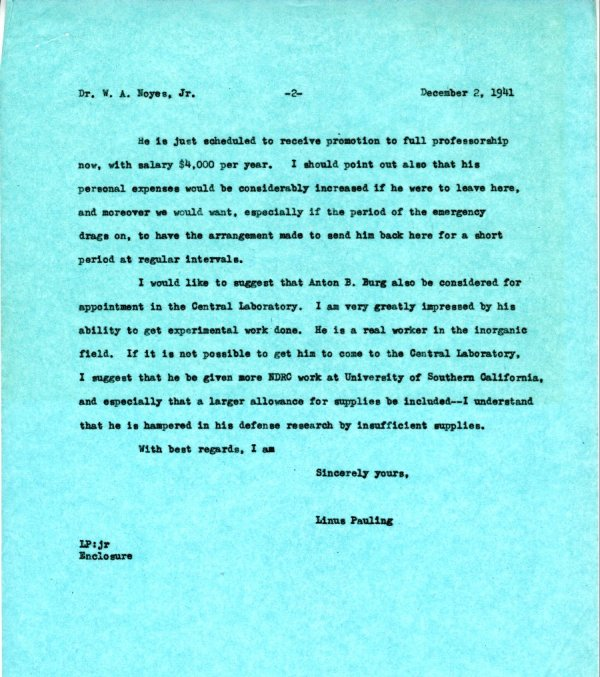 Letter from Linus Pauling to W.A. Noyes, Jr. Page 2. December 2, 1941