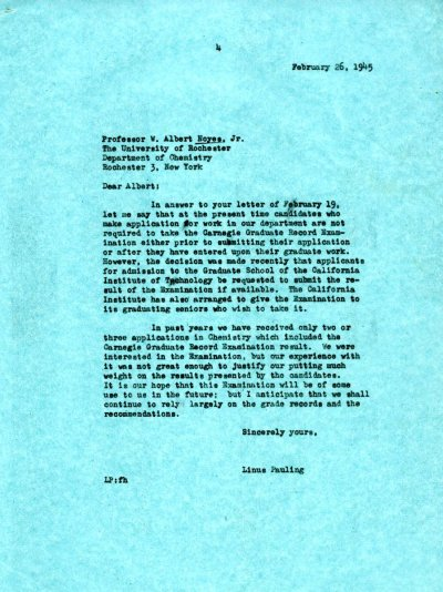 Letter from Linus Pauling to W.A. Noyes, Jr. Page 1. February 26, 1945