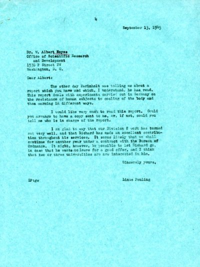 Letter from Linus Pauling to W.A. Noyes, Jr. Page 1. September 13, 1945