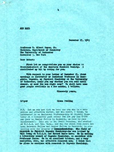 Letter from Linus Pauling to W.A. Noyes, Jr. Page 1. December 27, 1945