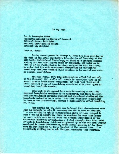 Letter from Linus Pauling to G. Burroughs Mider.Page 1. May 10, 1954