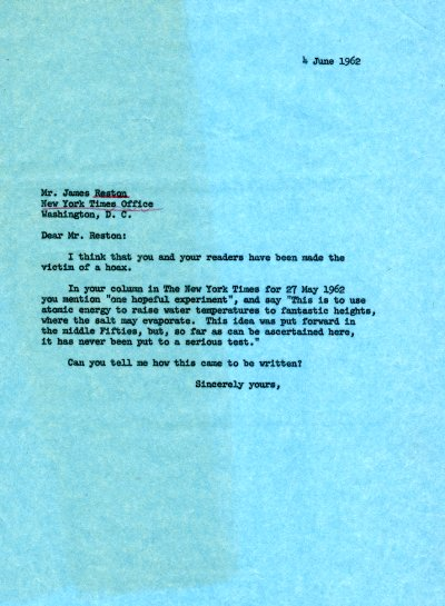 Letter from Linus Pauling to James Reston. Page 1. June 4, 1962