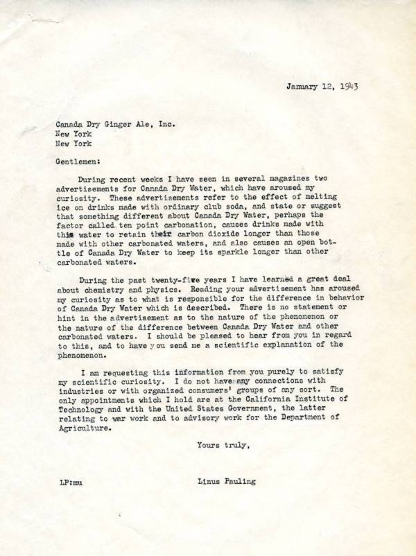 Letter from Linus Pauling to Canada Dry Ginger Ale, Inc.Page 1. January 12, 1943