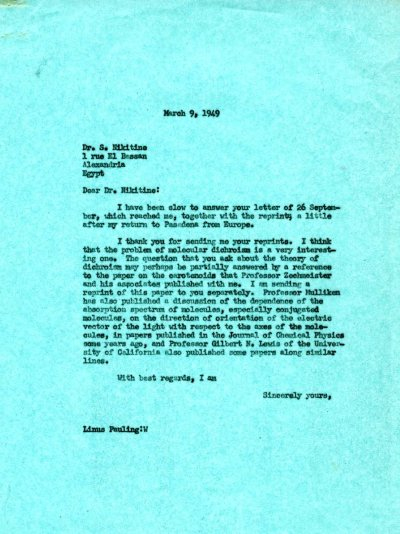 Letter from Linus Pauling to S. Nikitine. Page 1. March 9, 1949