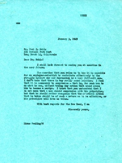 Letter from Linus Pauling to Paul G. Nahin. Page 1. January 3, 1949