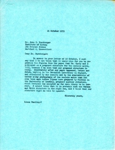 Letter from Linus Pauling to John I. Nurnberger. Page 1. October 21, 1955